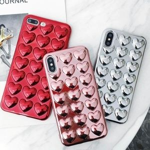 iPhone Electroplated 3D Hearts Love Case